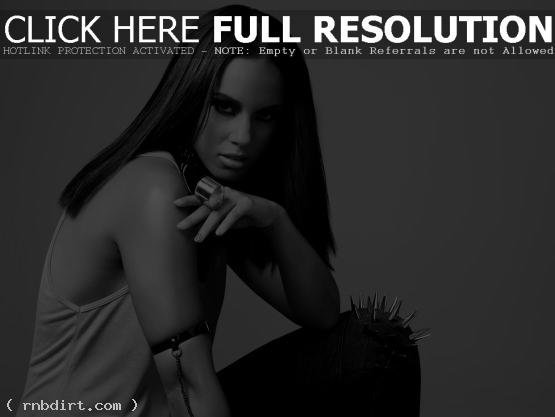 Alicia Keys in black and white
