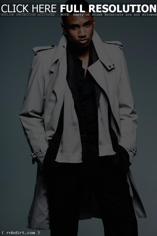 Trey Songz in a trenchcoat